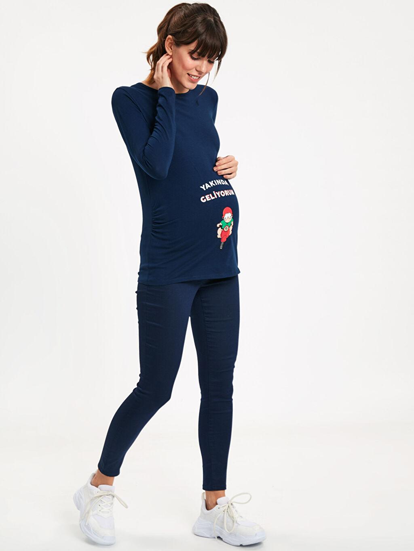%66 Pamuk %30 Polyester %4 Elastan Skinny Günlük Orta Kalınlık Pantolon Düz Gabardin Skinny Hamile Pantolon