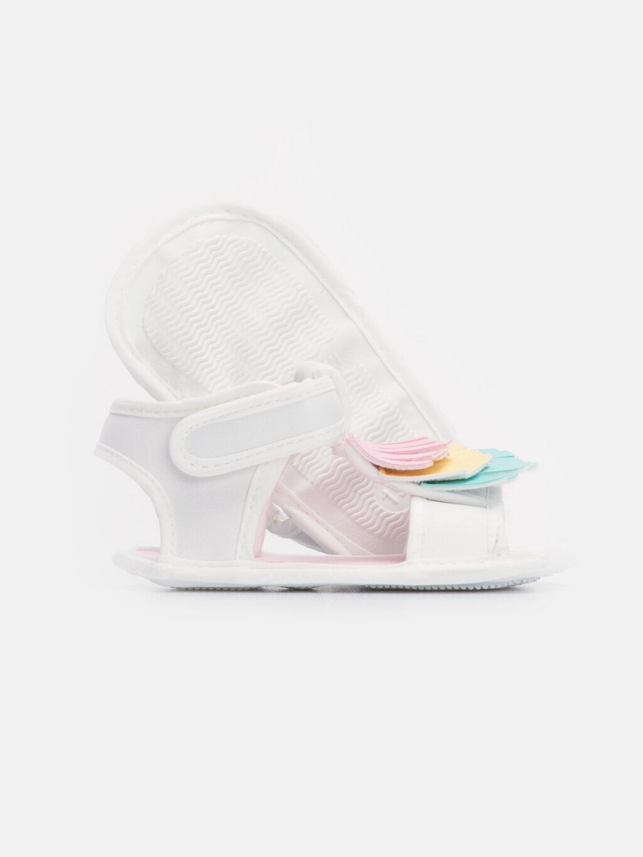 Beyaz Kız Bebek Cırt Cırtlı Sandalet