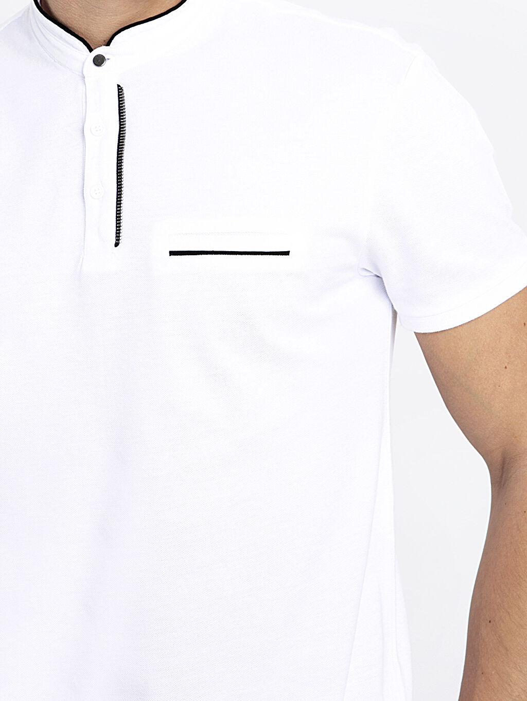 %100 Pamuk Hakim Yaka Kısa Kollu Pamuklu Tişört