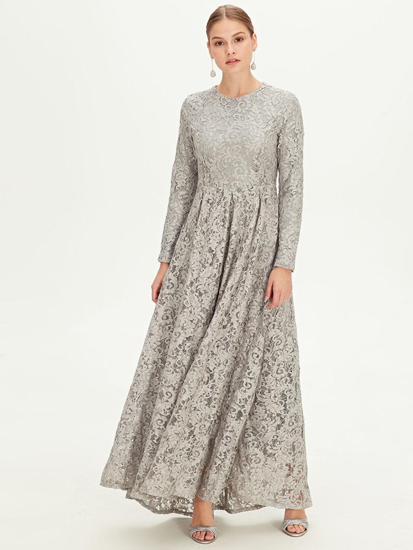 %100 Polyester Dantelli Uzun Abiye Elbise