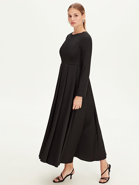 Siyah Uzun Kloş Abiye Elbise