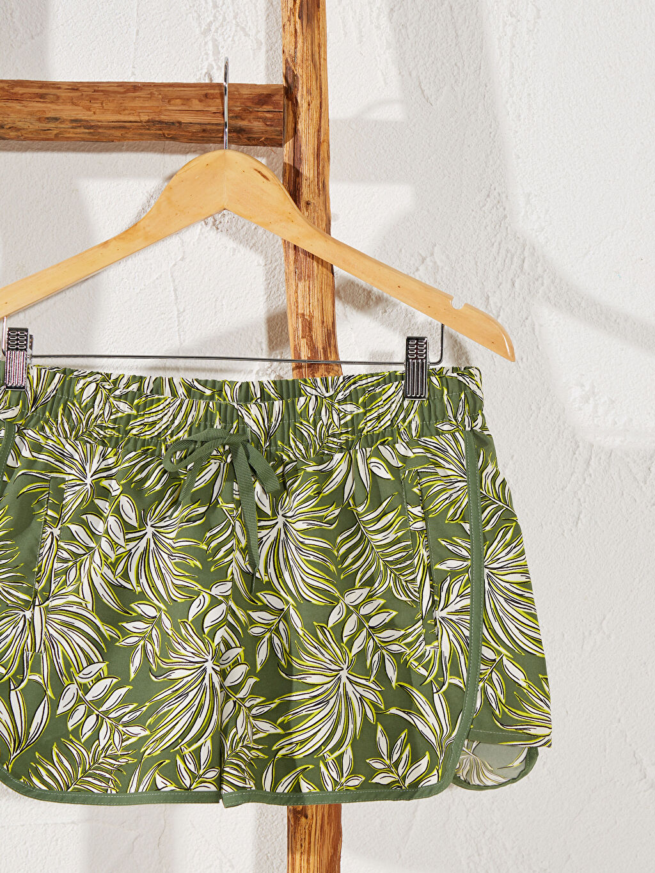 %100 Polyester Bikini Alt Mikrofiber Düz Beli Lastikli Deniz Şortu