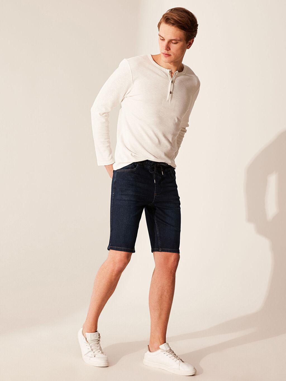 %80 Pamuk %18 Polyester %2 Elastan Skinny Jean Şort Beş Cep Orta Kalınlık Ekstra Slim Fit Jean Şort