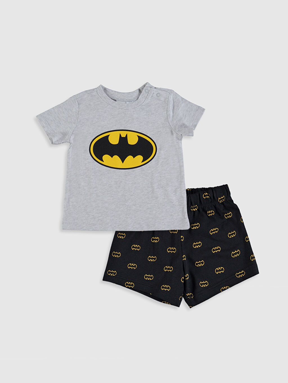 Gri Erkek Bebek Batman Baskılı Pijama Takımı 0S5927Z1 LC Waikiki