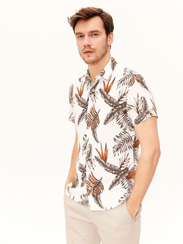 Bej Slim Fit Desenli Viskon Gömlek 0S8281Z8 LC Waikiki