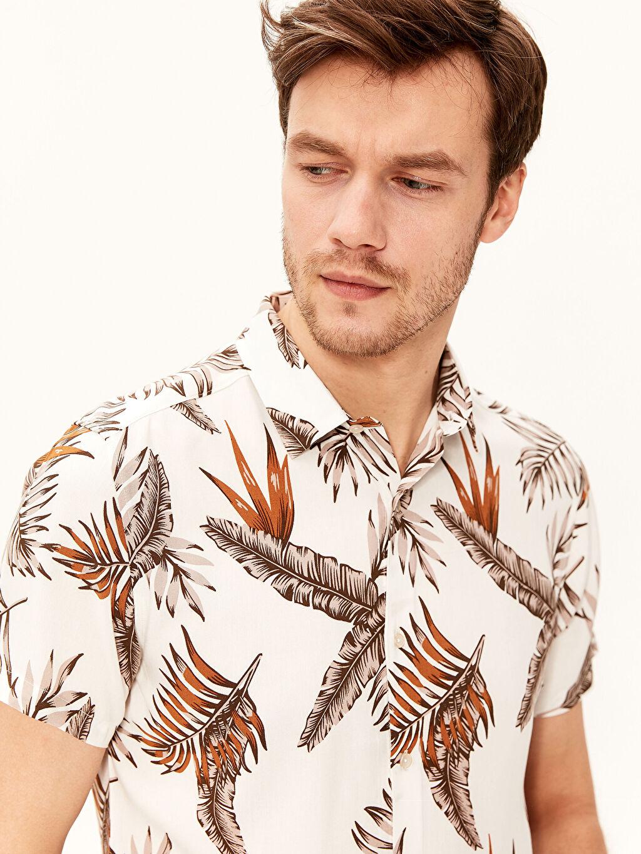%100 Viskoz Gömlek Baskılı Dar Patlı Kısa Kol Düğmeli Gömlek Yaka İnce Slim Fit Desenli Viskon Gömlek
