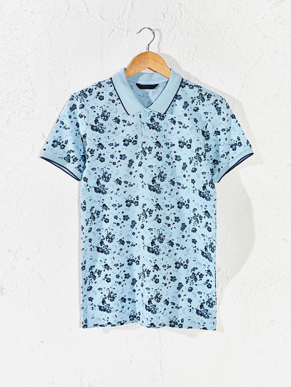 Mavi Aile Koleksiyonu Polo Yaka Desenli Tişört 0S8437Z8 LC Waikiki