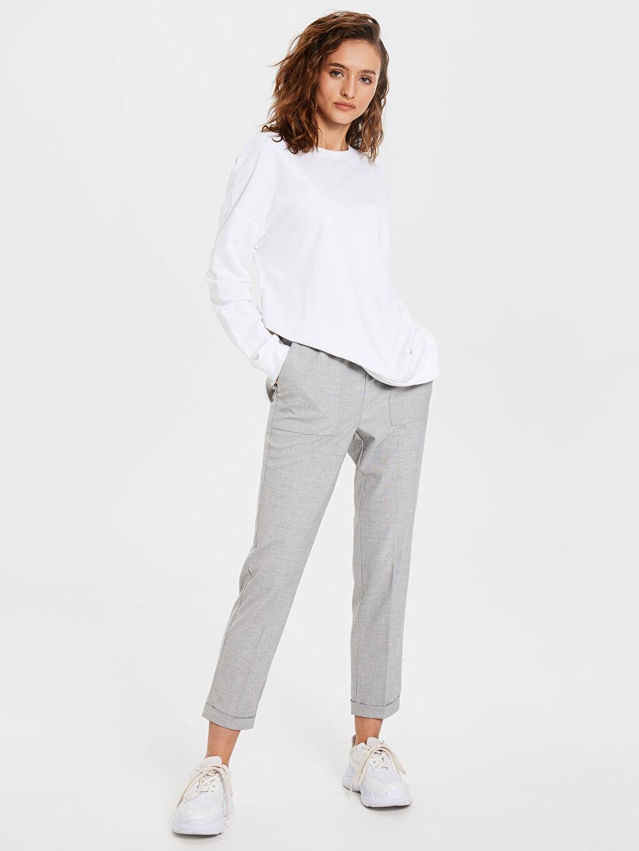 %64 Polyester %4 Elastan %32 Viskon Bilek Boy Harem Pantolon
