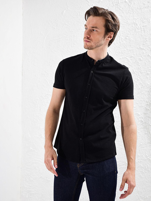 Siyah Slim Fit Kısa Kollu Basic Gömlek 0S9945Z8 LC Waikiki