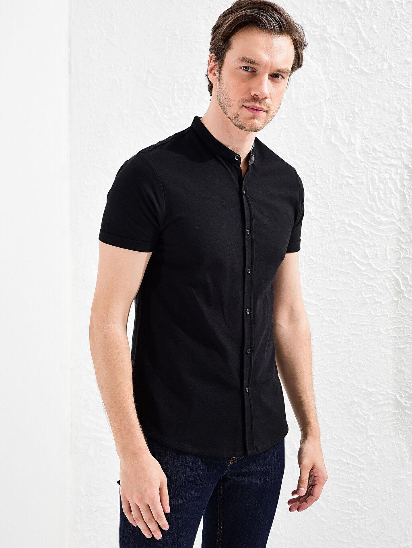 %100 Pamuk Dar Tişört Pike Kısa Kol Düz Düğmeli Gömlek Yaka %100 Pamuk Slim Fit Kısa Kollu Basic Gömlek