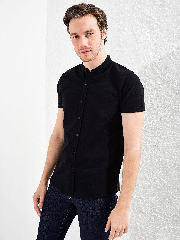 Erkek Slim Fit Kısa Kollu Basic Gömlek