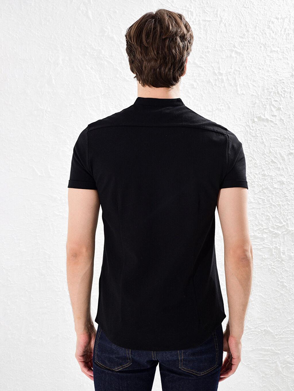 %100 Pamuk Slim Fit Kısa Kollu Basic Gömlek