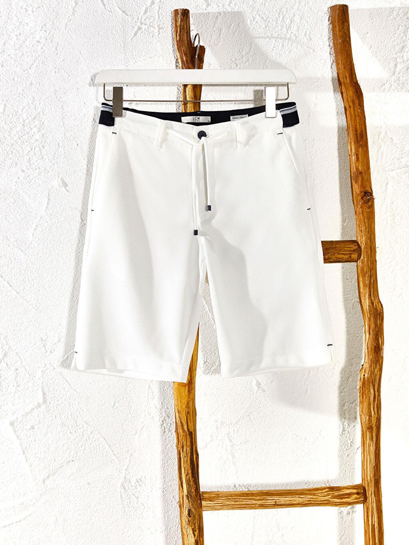 Beyaz Slim Fit Bermuda Şort