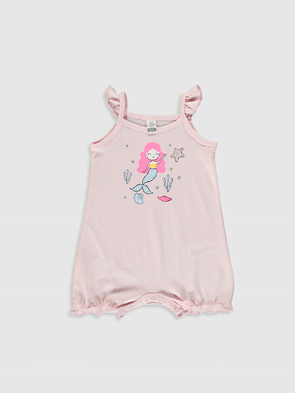 Pembe Kız Bebek Baskılı Tulum 2'li