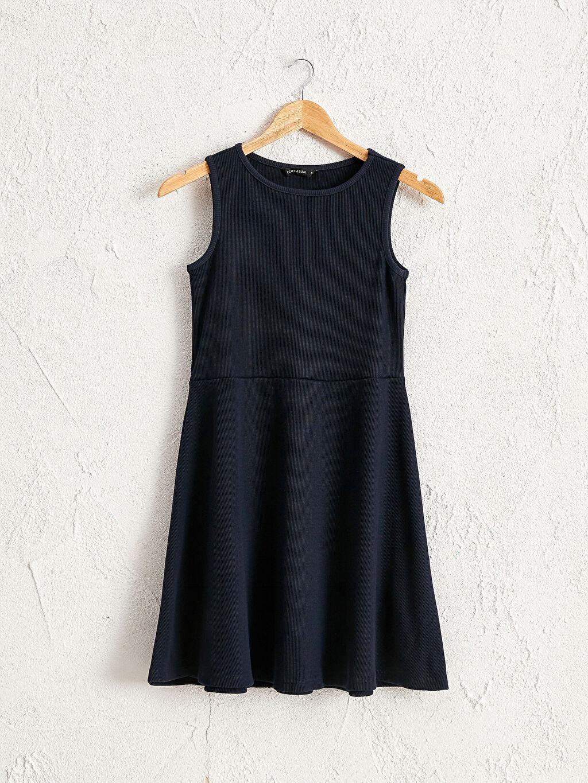 Lacivert Pamuklu Kloş Elbise 0SH101Z8 LC Waikiki