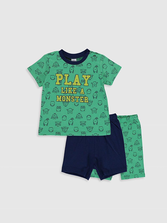 Yeşil Erkek Bebek Baskılı Pamuklu Pijama Takımı 3'lü 0SH476Z1 LC Waikiki