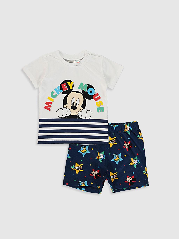 Beyaz Erkek Bebek Mickey Mouse Baskılı Pijama Takımı 0SH490Z1 LC Waikiki