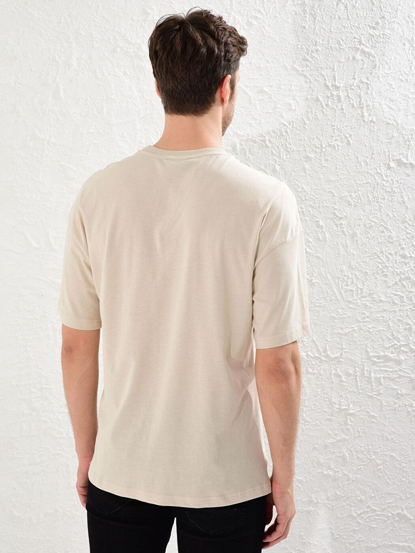 Erkek Bisiklet Yaka Baskılı Oversize Tişört