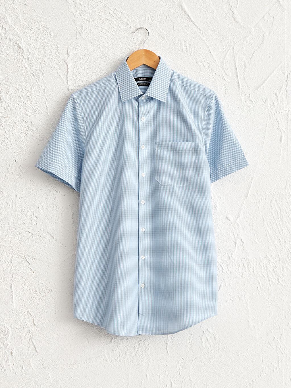 Mavi Regular Fit Desenli Kısa Kollu Gömlek 0SI695Z8 LC Waikiki