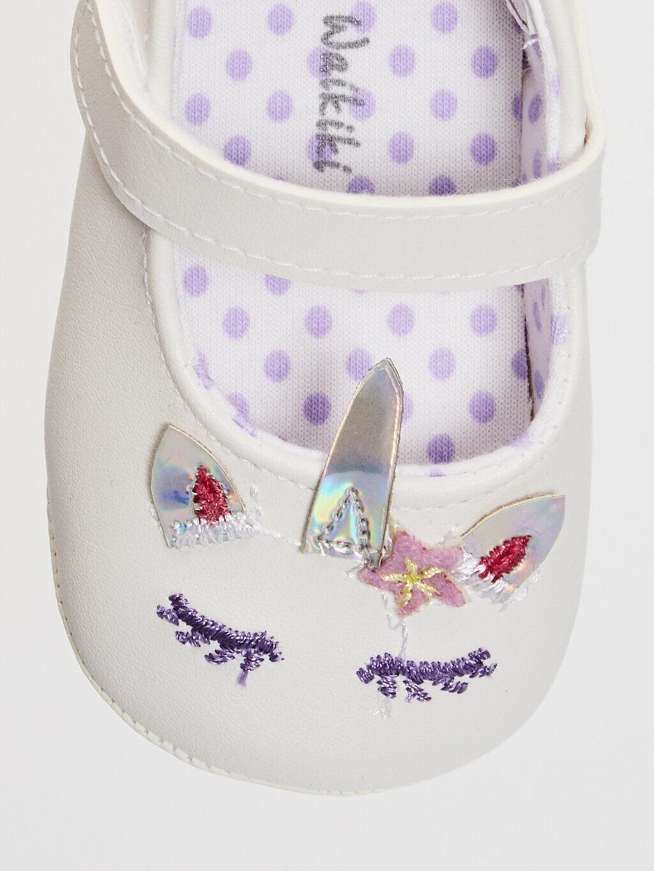 0SI780Z1 Kız Bebek Nakış Detaylı Yürüme Öncesi Ayakkabı