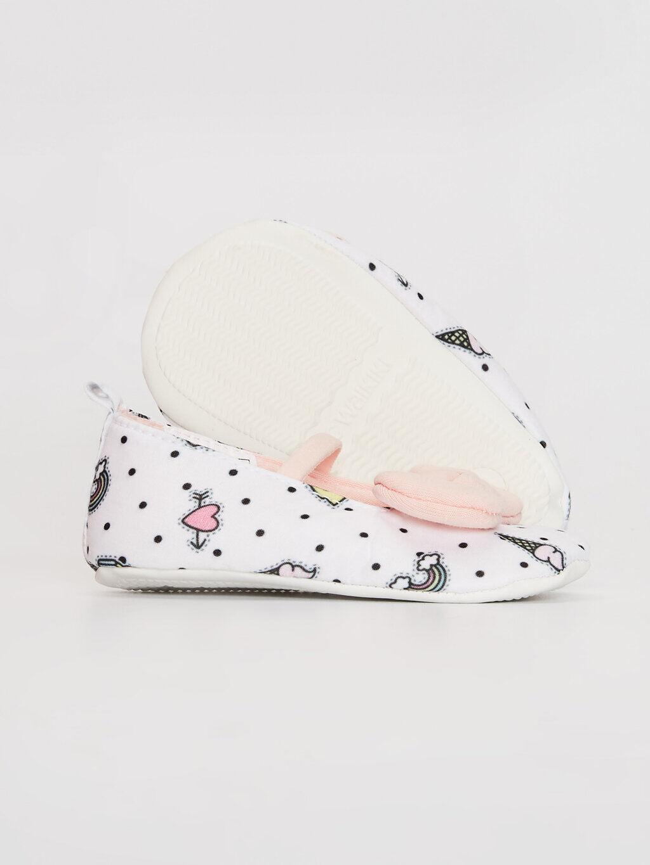 Beyaz Kız Bebek Fiyonk Detaylı Yürüme Öncesi Ayakkabı