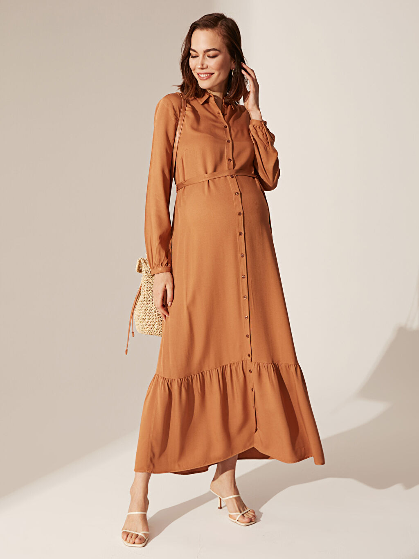 %100 Viskoz Orta Kalınlık Uzun Kol Geniş Paça Düz Gömlek Elbise Gömlek Yaka Astarsız Uzun Günlük Elbise Kuşaklı Viskon Gömlek Elbise