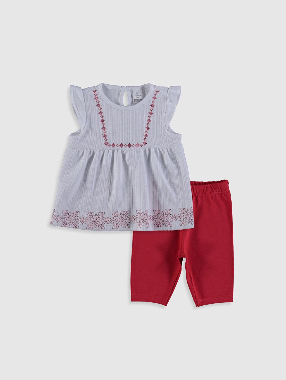 %55 Pamuk %45 Polyester %96 Pamuk %4 Elastan Takım Suprem Aksesuarsız Kız Bebek Bluz ve Pantolon