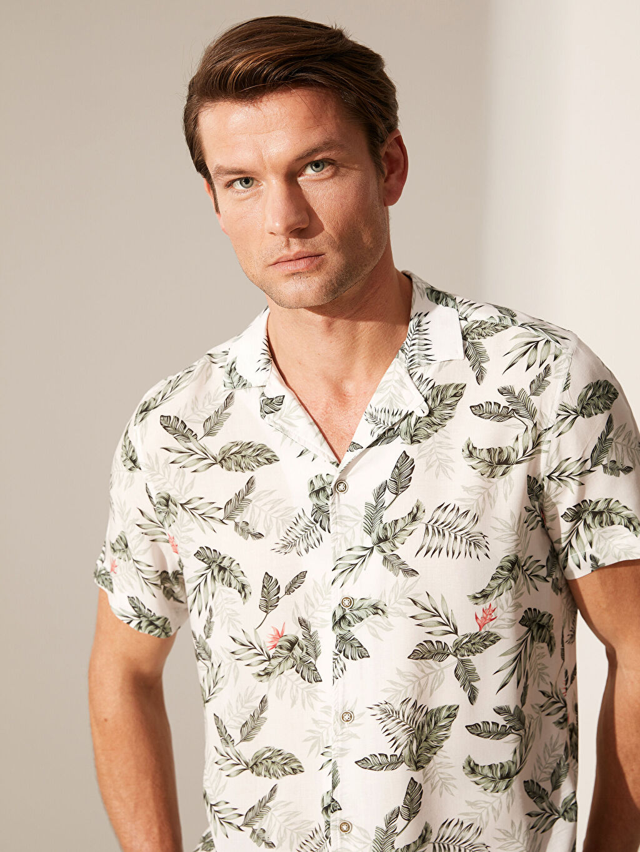 %100 Viskoz Dar Patlı Kısa Kol Gömlek Gömlek Yaka Baskılı Slim Fit Desenli Viskon Gömlek