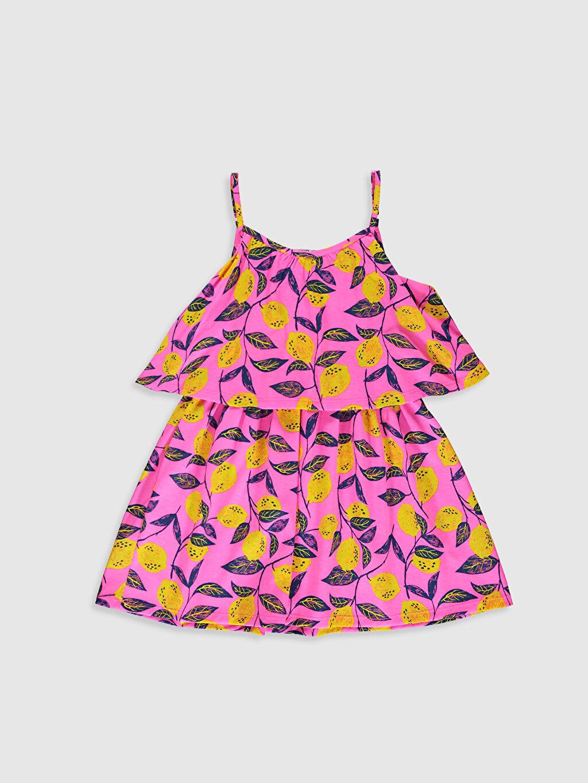 %100 Pamuk Elbise Kolsuz Baskılı Bisiklet Yaka Kloş Diz Üstü Kız Çocuk Desenli Pamuklu Elbise