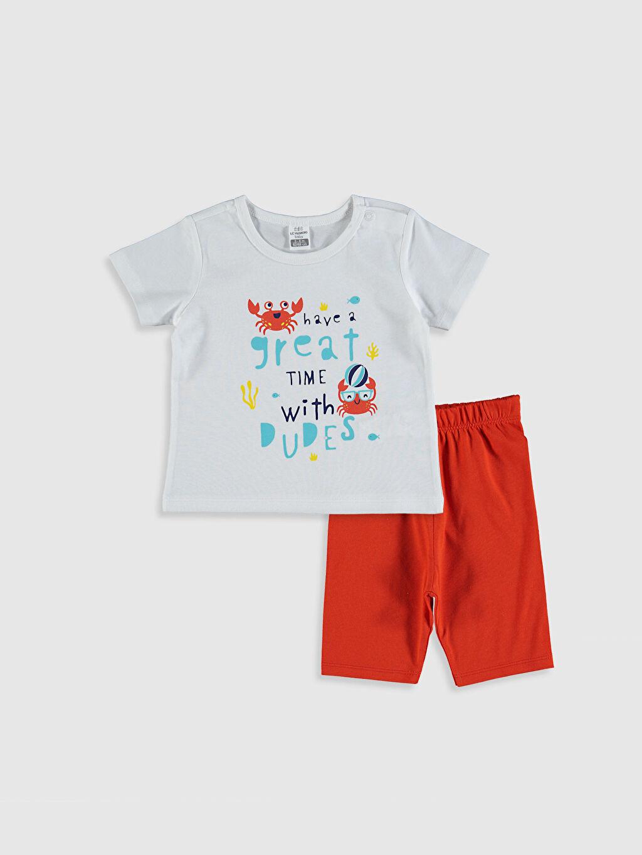 Beyaz Erkek Bebek Pamuklu Pijama Takımı 0SA030Z1 LC Waikiki