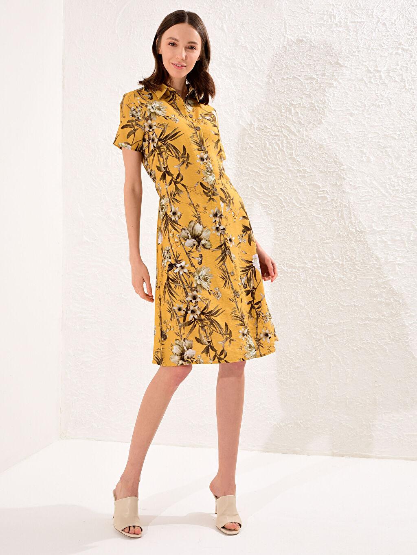 Turuncu Desenli Gömlek Elbise 0SA237Z8 LC Waikiki