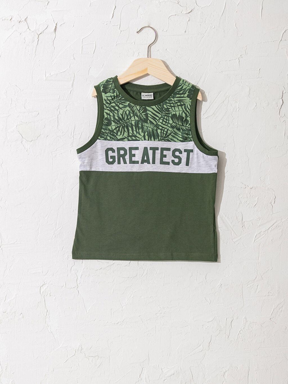 Yeşil Erkek Çocuk Baskılı Pamuklu Atlet 0SB599Z4 LC Waikiki