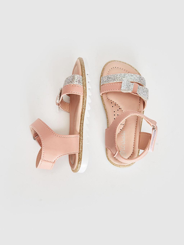 Sandalet PU Astar Işıksız Cırt Cırt Kız Bebek Fiyonk Detaylı Cırt Cırtlı Sandalet