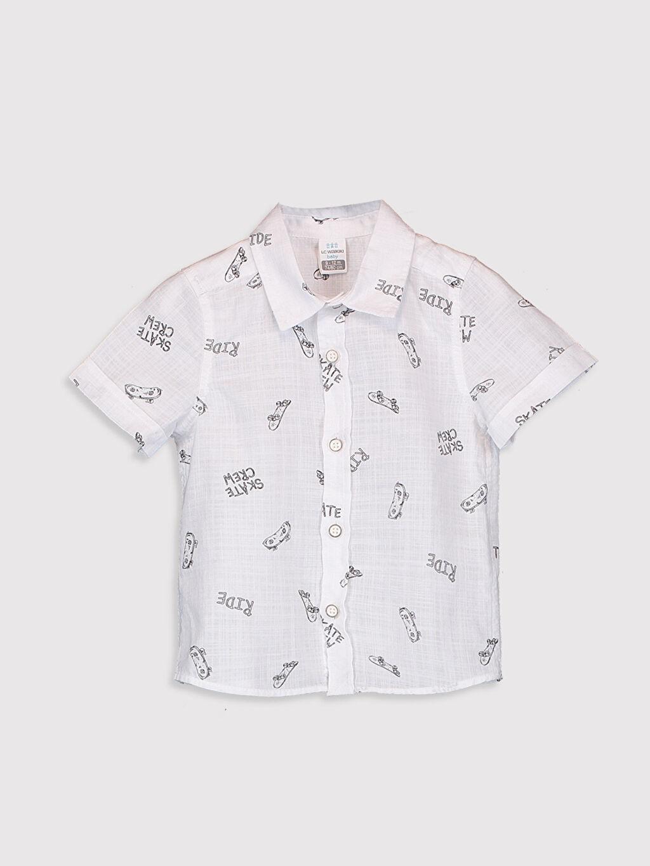 %100 Pamuk %100 Pamuk Gömlek Baskılı Kısa Kol Polo Yaka Erkek Bebek Baskılı Gömlek