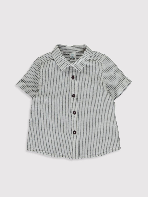 Lacivert Erkek Bebek Baskılı Gömlek 0SC493Z1 LC Waikiki