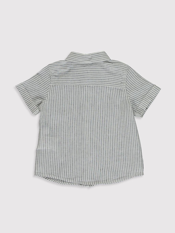 %75 Pamuk %25 Keten %100 Pamuk Gömlek Baskılı Kısa Kol Polo Yaka Erkek Bebek Baskılı Gömlek