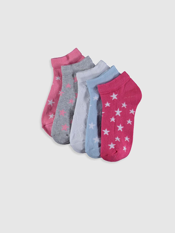 %69 Pamuk %29 Poliamid %2 Elastan Orta Kalınlık Patik Çorap Kız Çocuk Patik Çorap 5'li