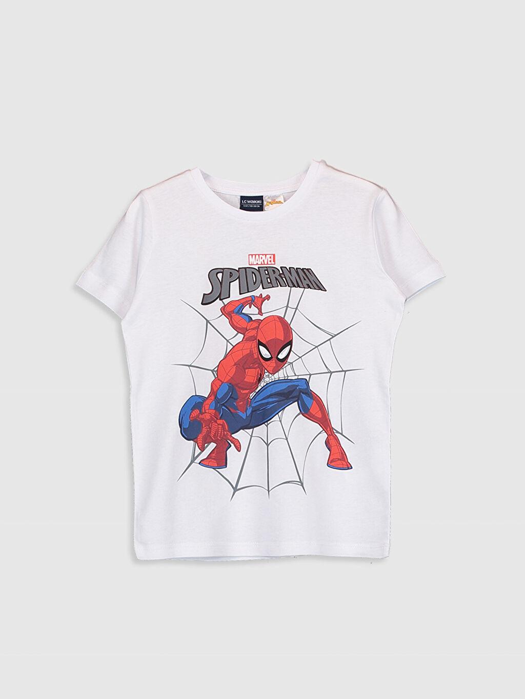Beyaz Erkek Çocuk Spiderman Pamuklu Tişört 0SC751Z4 LC Waikiki