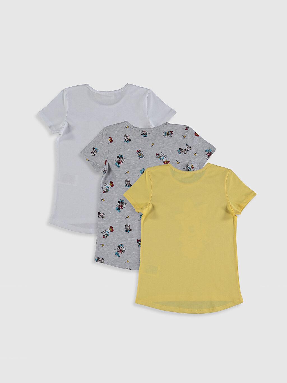 %100 Pamuk Standart Baskılı Tişört Minnie Mouse Bisiklet Yaka Kısa Kol Süprem Kız Çocuk Minnie Mouse Baskılı Tişört 3'Lü