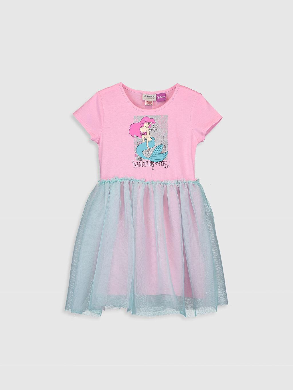 Pembe Kız Çocuk Deniz Kızı Baskılı Pamuklu Elbise 0SC994Z4 LC Waikiki