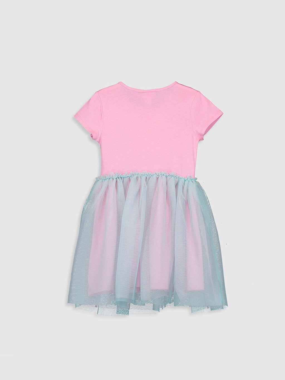 %100 Pamuk %100 Pamuk Baskılı Elbise Volan Diz Üstü Kısa Kol Bisiklet Yaka Kız Çocuk Deniz Kızı Baskılı Pamuklu Elbise