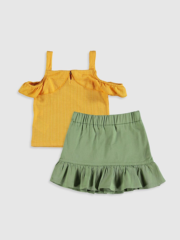 %98 Pamuk %2 Elastan %66 Pamuk %34 Polyester İnce Smart Casual Askılı Takım Kız Bebek Tişört Ve Etek