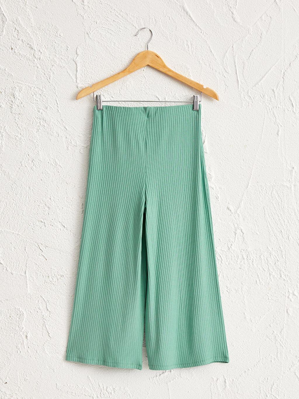 %94 Viskon %6 Elastan Normal Bel Pantolon Kaşkorse Geniş Paça Düz Kısa Beli Lastikli Geniş Paça Esnek Pantolon