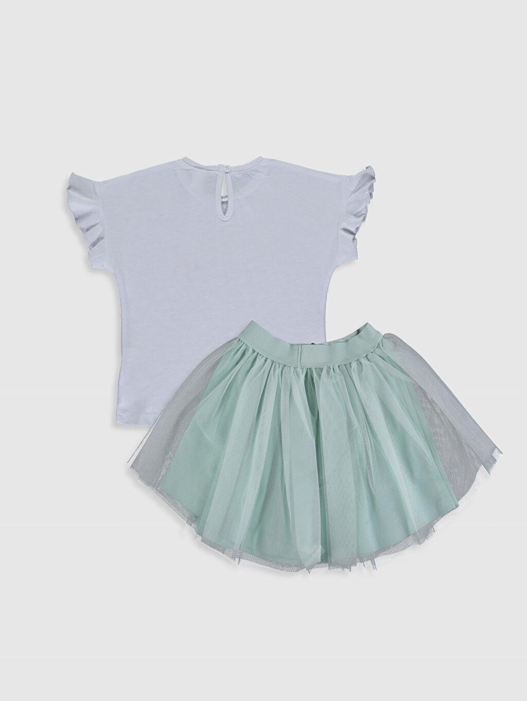%100 Pamuk %100 Polyester %100 Pamuk Takım Baskılı Şık Orta Kalınlık Kısa Kol Kız Bebek Baskılı Tişört ve Etek