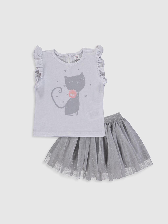 Beyaz Kız Bebek Baskılı Tişört ve Tül Etek 0SD706Z1 LC Waikiki