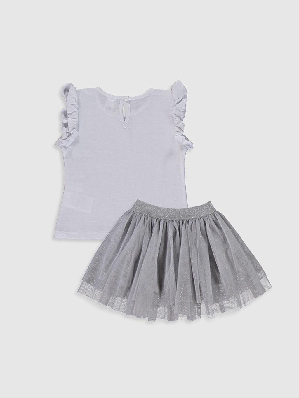 %100 Polyester %100 Pamuk %100 Pamuk Takım Kız Bebek Baskılı Tişört ve Tül Etek