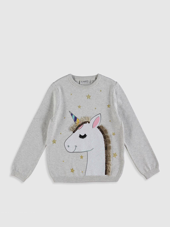 Ekru Kız Çocuk Unicorn Desenli İnce Triko Kazak 0SD861Z4 LC Waikiki