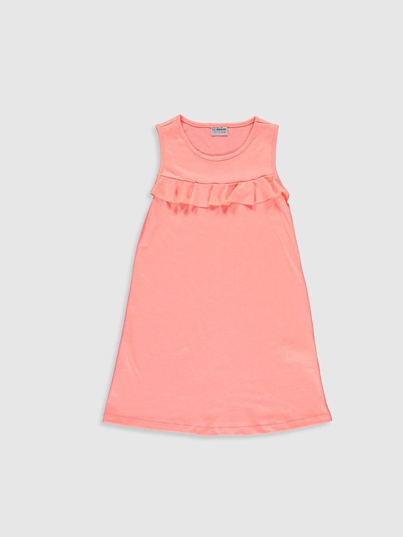 Pembe Kız Çocuk Fırfırlı Pamuklu Elbise 0SD898Z4 LC Waikiki