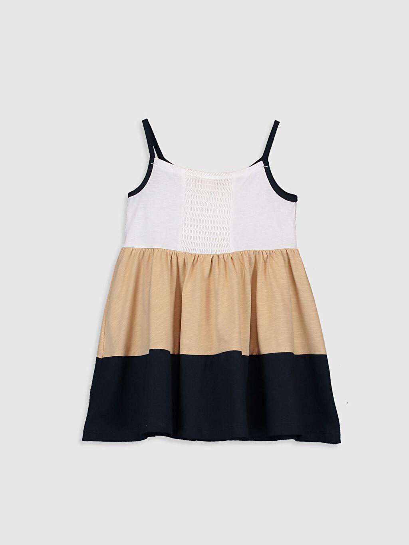 %100 Pamuk Askılı Elbise Bisiklet Yaka Çizgili Süprem Kız Bebek Elbise