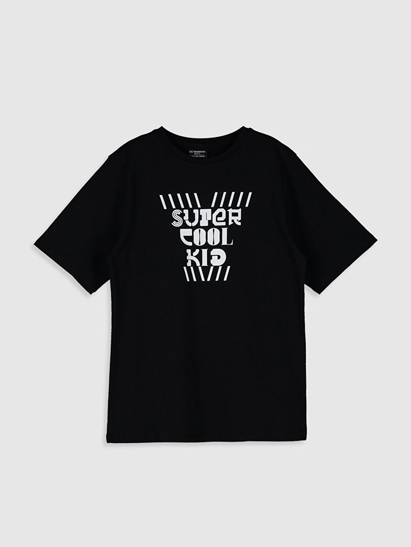 Siyah Aile Koleksiyonu Erkek Çocuk Yazı Baskılı Pamuklu Tişört 0SE003Z4 LC Waikiki